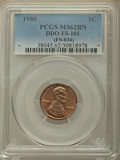 Lincoln Cents, 1980 1C Doubled Die Obverse, FS-101 MS62 Brown PCGS. (FS-034). PCGS Population: (7/8). Mintage 7,414,7...