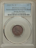 Lincoln Cents, 1922 1C No D, Strong Reverse, -- Environmental Damage -- PCGS Genuine. VF Details. PCGS Population: (659...
