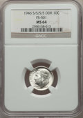 1946-S/S/S/S 10C Double Die Reverse, FS-501, MS64 NGC. This lot will also include the following: 1976-S 25C Silver MS66...