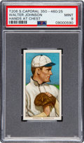 Baseball Cards:Singles (Pre-1930), 1909-11 T206 Sweet Caporal 350-460/25 Walter Johnson (Hands at Chest) PSA Mint 9 - Pop Three, None Higher! ...