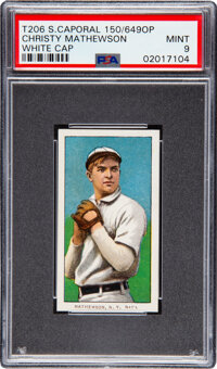 1909-11 T206 Sweet Caporal 150/649 Overprint Christy Mathewson (White Cap) PSA Mint 9 - Pop Two, None Higher!