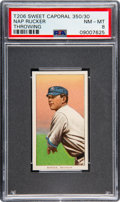 Baseball Cards:Singles (Pre-1930), 1909-11 T206 Sweet Caporal 350/30 Nap Rucker (Throwing) PSA NM-MT 8 - Pop Four, None Higher! ...