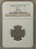 Bust Dimes, 1824/2 10C Flat Top 1, JR-1, R.3, VF25 NGC. NGC Census: (1/3). PCGSPopulation: (0/7). Mintage 510,000. ...