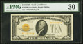 Small Size:Gold Certificates, Fr. 2400 $10 1928 Gold Certificate. PMG Very Fine 30.. ...