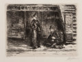 Fine Art - Work on Paper:Print, John French Sloan (1871-1951). Girl and beggar, 1910. Etching on wove paper. 4-3/8 x 5-7/8 inches (11.1 x 14.9 cm) (imag...