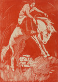 Prints & Multiples, Howard Norton Cook (1901-1980). Indian Riding Horse, n.d.. Woodcut in colors on paper. 7 x 5 inches (17.8 x 12.7 cm) (im...