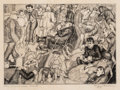 Fine Art - Work on Paper:Print, Peggy Bacon (1895-1987). The Promenade Deck, 1920. Drypoint on paper. 6 x 8-3/8 inches (15.2 x 21.3 cm) (image). 10-7/8 ...