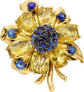 Estate Jewelry:Brooches - Pins, Sapphire, Gold Brooch, Van Cleef & Arpels . ...