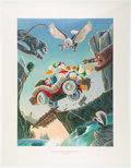Memorabilia:Disney, Carl Barks Leaving Their Cares Behind Signed Limited Edition Lithograph Print #119/350 (Another Rainbow, 1995)....