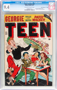 "Teen Comics #21 Davis Crippen (""D"" Copy) Pedigree (Marvel, 1947) CGC NM 9.4 Off-white to white pages"