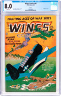 Golden Age (1938-1955):War, Wings Comics #46 Okajima Pedigree (Fiction House, 1944) CGC VF 8.0 White pages....