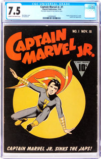 Captain Marvel Jr. #1 (Fawcett Publications, 1942) CGC VF- 7.5 Cream to off-white pages