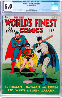 World's Finest Comics #3 (DC, 1941) CGC VG/FN 5.0 Off-white to white pages