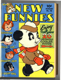 Golden Age (1938-1955):Cartoon Character, New Funnies #78-113 Bound Volumes (Dell, 1943-46). WoodyWoodpecker, Andy Panda, and the Brownies (with Walt Kelly art) are...