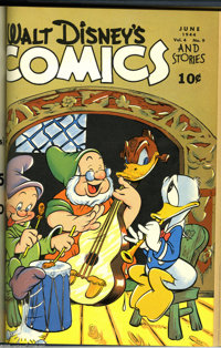 Walt Disney's Comics and Stories #37-72 Bound Volumes (Dell, 1943-46). These are file copies which have been trimmed and...