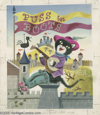 John Miller -Little Golden Book #137 Puss In Boots Cover and Story Illustration Original Art, Group of 22 (Simon and Sch...