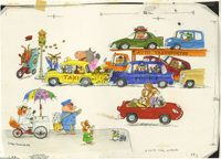 Richard Scarry - Big Golden Book #12056 Nicky Goes to the Doctor Cover and Story Illustrations Original Art, Group of 38...