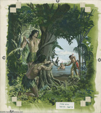 George Wilson (attributed) - Turok, Son of Stone #33 Cover Original Art (Gold Key, 1963). Lured by mysterious green men...