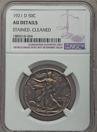 1921-D 50C -- Cleaned, Stained -- NGC Details. AU. Mintage 208,000....(PCGS# 6584)