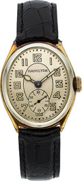 Timepieces:Wristwatch, Hamilton Scarce Two Tone 14k Gold Oval Wristwatch, circa 1928. ...