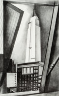 Fine Art - Work on Paper:Print, Ernest Fiene (1894-1965). Empire State Building, 1930.Lithograph on paper. 14-3/8 x 8-5/8 inches (36.5 x 21.9 cm)(imag...