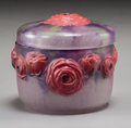 Art Glass:Other , Argy-Rousseau Pate-de-Verre Glass Roses Box. Circa 1921.Molded G. ARGY-ROUSSEAU, FRANCE. Ht. 2-7/8 x Di. 3-...