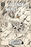 Original Comic Art:Covers, Ed Hannigan and Murphy Anderson DC Comics Presents #95 Cover Superman and Hawkman Original Art (DC, 1986)....