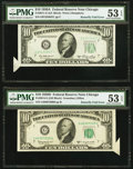 Error Notes:Foldovers, $10 FRN Butterfly Fold Errors From 18-Subject Sheets Two Examples.. ... (Total: 2 notes)