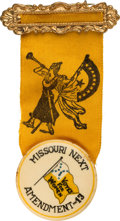 Political:Pinback Buttons (1896-present), Woman's Suffrage: Unbelievable State of Missouri Ballot Measure Badge....
