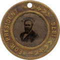 Political:Ferrotypes / Photo Badges (pre-1896), Rutherford B. Hayes: Unlisted Back-to-Back Ferrotype....