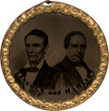 Political:Ferrotypes / Photo Badges (pre-1896), Lincoln & Hamlin: Ferrotype Jugate in Choice Condition. ...