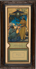 "Advertising:Paper Items, Maxfield Parrish: ""Lamp Seller of Bagdad"" 1923 Edison MazdaCalendar...."