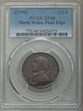 Colonials, (1795) 1/2 P Washington North Wales Halfpenny, Plain Edge, One Star at Each Side of Harp XF40 PCGS. PCGS Population: (21/36...