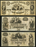 Obsoletes By State:Louisiana, New Orleans, LA - Canal Bank $5; $20; $50 18__ Remainders. ... (Total: 3 notes)