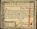 Colonial Notes:Massachusetts, Massachusetts May 5, 1780 $5 Choice New.. ...