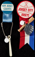 Baseball Collectibles:Pins, Vintage New Jersey Giants & Jersey City Jerseys Pinback Lot of2....