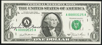 Low Serial Number Fr. 1911-A $1 1981 Federal Reserve Note. Courtesy Autograph. Choice About Uncirculated