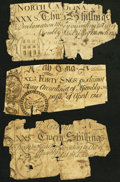 Colonial Notes:Mixed Colonies, Trio of 1748/1754 North Carolina Colonials. Good.. ... (Total: 3notes)