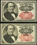 Fractional Currency:Fifth Issue, Fr. 1308 25¢ Fifth Issue Choice New.. Fr. 1309 25¢ Fifth IssueChoice About New. Bundle hole.. ... (Total: 2 notes)