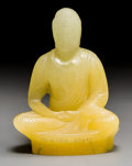 Art Glass:Other , Almeric Walter Pate-de-Verre Glass Seated Buddha Figure.Circa 1920. Molded A WALTER, NANCY. Ht. 6-1/2 in. ...