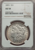 Morgan Dollars: , 1893 $1 AU58 NGC. NGC Census: (313/2190). PCGS Population:(351/4050). CDN: $500 Whsle. Bid for problem-free NGC/PCGS AU58....