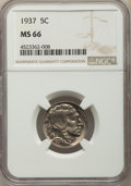 Buffalo Nickels, (10)1937 5C MS66 NGC. NGC Census: (4657/464). PCGS Population: (4245/470). CDN: $55 Whsle. Bid for problem-free NGC/PCGS MS... (Total: 10 item)