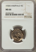 Buffalo Nickels, (10)1938-D 5C MS66 NGC. NGC Census: (22850/2554). PCGS Population: (31664/1912). CDN: $50 Whsle. Bid for problem-free NGC/P... (Total: 10 coins)