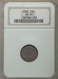 Bust Dimes: , 1833 10C AU55 NGC. NGC Census: (21/195). PCGS Population: (53/185).CDN: $440 Whsle. Bid for problem-free NGC/PCGS AU55. Mi...
