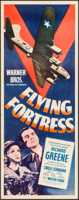 "Flying Fortress (Warner Brothers, 1942). Insert (14"" X 36""). War"