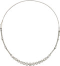 Estate Jewelry:Necklaces, Diamond, Platinum, White Gold Convertible Necklace-Bracelet, French. ...