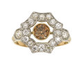 Estate Jewelry:Rings, Fancy Dark Orange-Brown Diamond, Diamond, Platinum-Topped GoldRing. ...