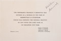 Political:Small Paper (1896-present), Franklin D. Roosevelt: Engraved Announcement as President-Elect....