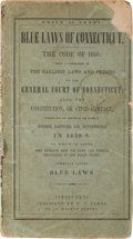 """Books:Americana & American History, Connecticut """"Blue Laws"""": Rare Book in Titled Wraps...."""