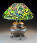 Art Glass:Tiffany , Tiffany Studios Leaded Glass and Bronze Geranium Table Lamp.Circa 1915. Stamped to shade TIFFANY STUDIOS NEW ... (Total: 2Items)